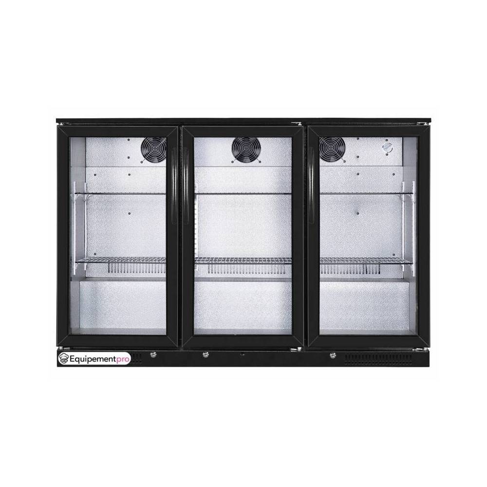 frigo de bar 3 portes vitr es 330 litres 230v. Black Bedroom Furniture Sets. Home Design Ideas